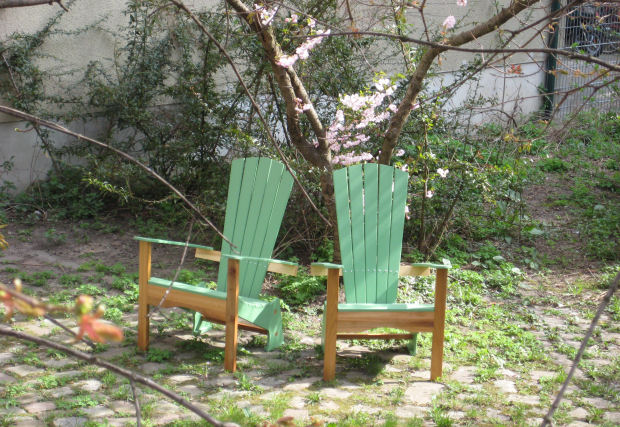 Adirondack style wooden chairs